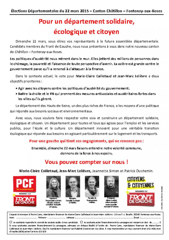 Élections Départementales du 22 mars 2015 – Canton Châtillon – Fontenay-aux-Roses